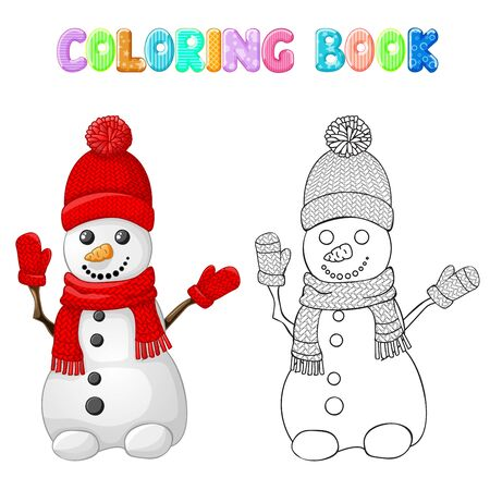Coloring snowman with red hat, scarf and glove isolated on white Иллюстрация