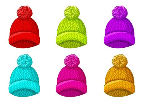 Set of multicolored winter hat with pompom Иллюстрация