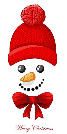 Christmas card with snowman face over white background