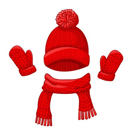 Realistic red hat with a pompom, scarf and mitten set knitted seasonal winter