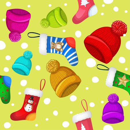 Pattern with multicolored winter hats and socks over snowflakes background Иллюстрация