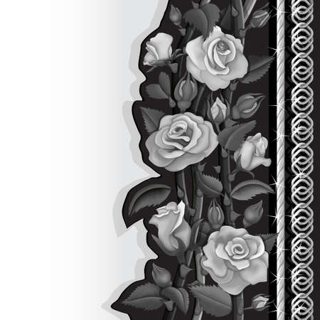 Black card with white and black roses and silver chains Иллюстрация