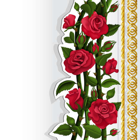 Card with red roses and golden chains