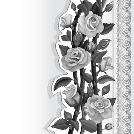 Card with white and black roses and silver chains