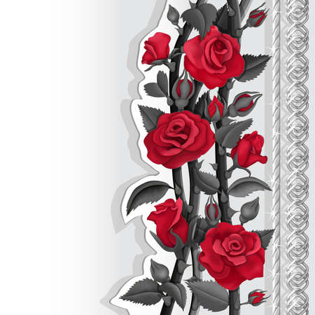 Card with red and black roses and silver chains