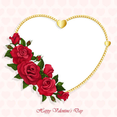 Valentine's Day card with beautiful heart of roses