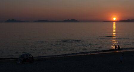 Sunset over the Ria de Vigo and Cies Islands Stock Photo