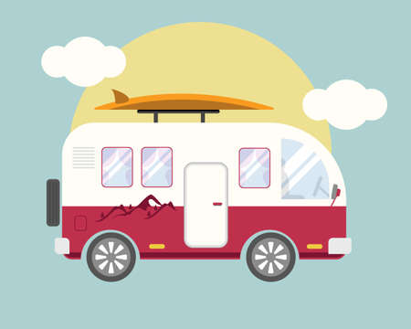 Retro style colorful camper van with surfboard for road trip on vacation