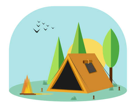 vector illustration of camping tent, campfire and birds in the middle of the forest