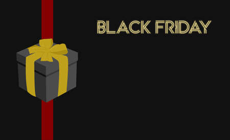 vector black background with red line, black gift, and neon black friday poster for business on sale or promotions for black friday Ilustración de vector
