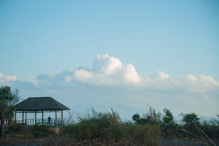 shu: View of a pavilion under the blue sky