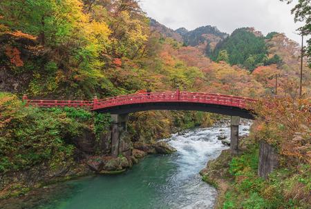 japan: Shinkyo Bridge during Autumn in Nikko, Tochigi, Japan