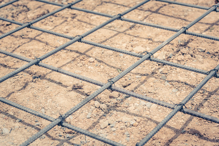 strong foundation: steel mesh used to make reinforced concrete ,vintage