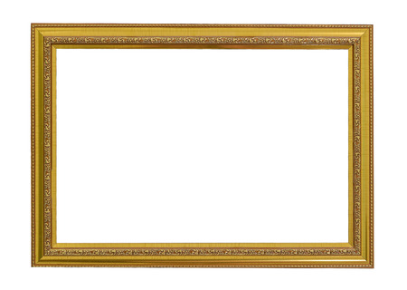 Gold vintage frame. Elegant vintage goldgilded picture frame with beading. Isolated on white. Stock Photo
