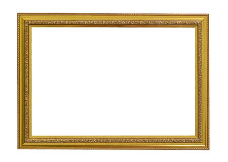 marco madera: Marco del oro de la vendimia. el oro elegante de la vendimia  Marco dorado con abalorios. Aislado en blanco. Foto de archivo