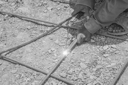 improvisation: Welding steel structure , black and white Stock Photo