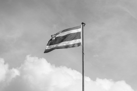 flagstaff: thailand flag with nice sky on flagstaff ,black and white Stock Photo