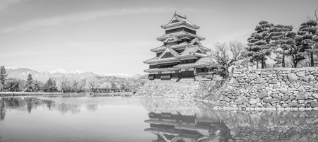 matsumoto: Matsumoto Castle is one of the most complete and beautiful among Japans original castles ,panorama ,black and white