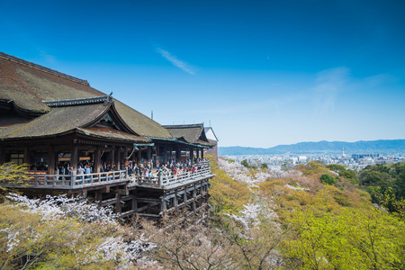 japanese temple: Kyoto, Japan at Kiyomizu-dera Temple in the spring
