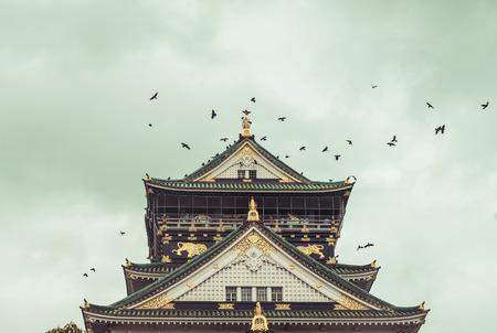world heritage site: Japan landmark: the Himeji castle, an UNESCO world heritage site, vintage Editorial