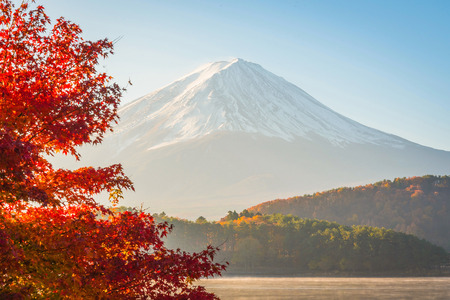 fuji: red frame of maple leaf and mt.Fuji,sunrise Stock Photo