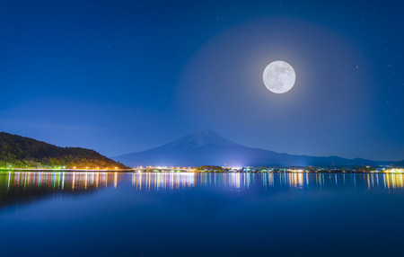 moon and stars: Midnight and Mt.Fuji ,full moon Stock Photo