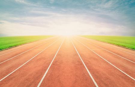 Running track in stadium ,vintage