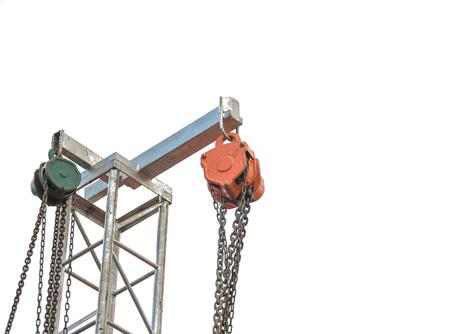 pulley: polea de hierro en el fondo blanco Foto de archivo