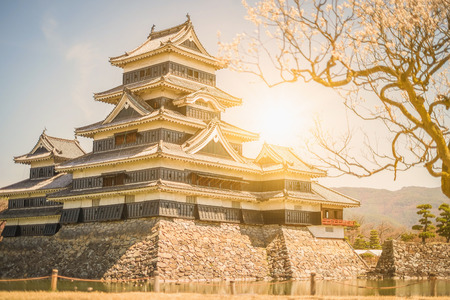 castle: Matsumoto Castle is one of the most complete and beautiful among Japans original castles ,sunset Editorial