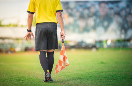 penalty flag: soccer or football assistant referee Stock Photo