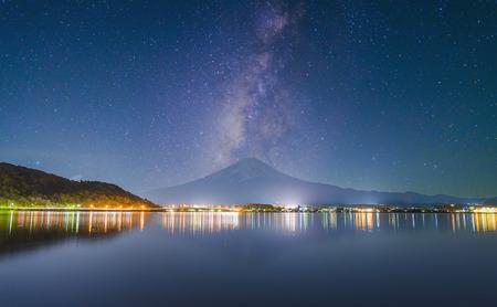 midnight: Midnight and Mt.Fuji , star Stock Photo