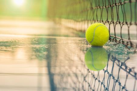 Tennis court with tennis ball close up