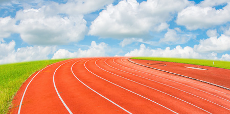 way of living: Running track  with the blue sky Stock Photo