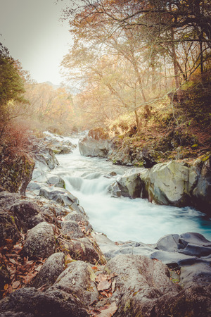 watercourse: watercourse at nikko, japan sunset vintage