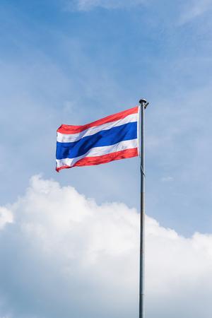 flagstaff: thailand flag with nice sky on flagstaff Stock Photo
