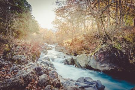 watercourse: watercourse at nikko, japan sunset vintage