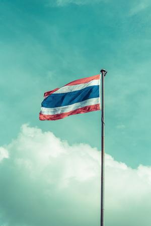 flagstaff: thailand flag with nice sky on flagstaff ,vintage