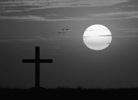 red cross red bird: Silhouette of the cross with the sunset , black and white Stock Photo