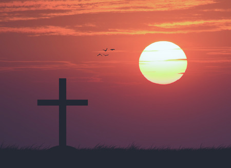 red cross red bird: Silhouette of the cross with the sunset , vintage Stock Photo