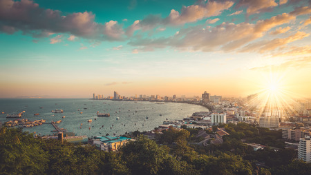 unoccupied: Pattaya City and Sea with morning sunrise, Thailand , vintage