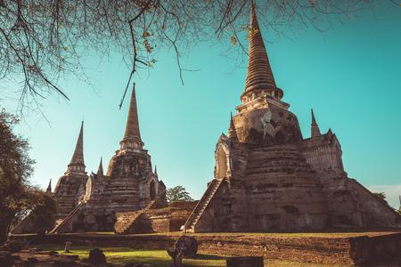 phra nakhon si ayutthaya: Ayutthaya Historical Park, Phra Nakhon Si Ayutthaya, Ayutthaya , Thailand. vintage tone
