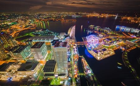 night views: Aerial night view of Yokohama Cityscape and bay at Minato Mirai waterfront district from yokohama landmark tower
