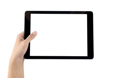 blank tablet: Hand holding tablet blank screen. Woman hand using tablet isolated on white background. teblet white screen. Stock Photo