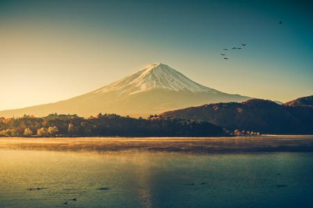Mount fuji at Lake kawaguchiko,Sunrise vintage tone 写真素材