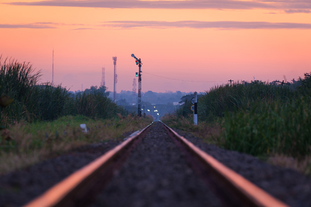 perspective of rail way against beautiful  sky use for land transportation and transport industry.