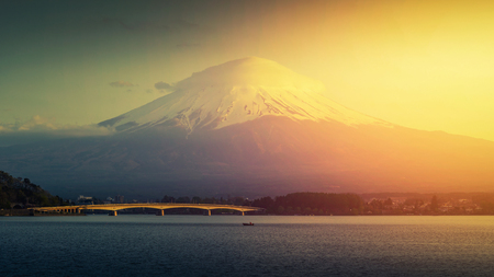 Mt. Fuji, Japan at Lake Kawaguchi after sunset.