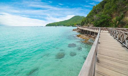Wooden Bridge with beautiful seacape in koh lan ,Thailand.