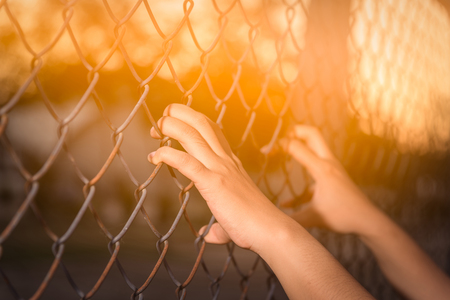 restraint: Hand holding on chain link fence