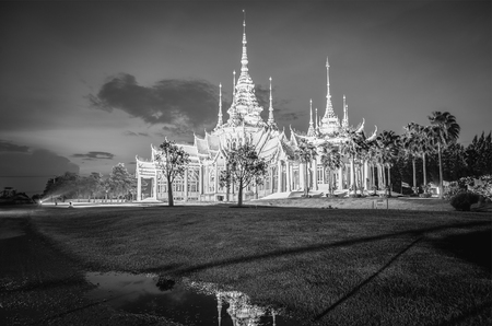 public domain: Temple , Wat thai They are public domain or treasure of Buddhism ,black and white.