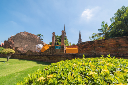The big sleeping Buddha in Wat Yai Chai Mongko at Ayutthaya,Thailand